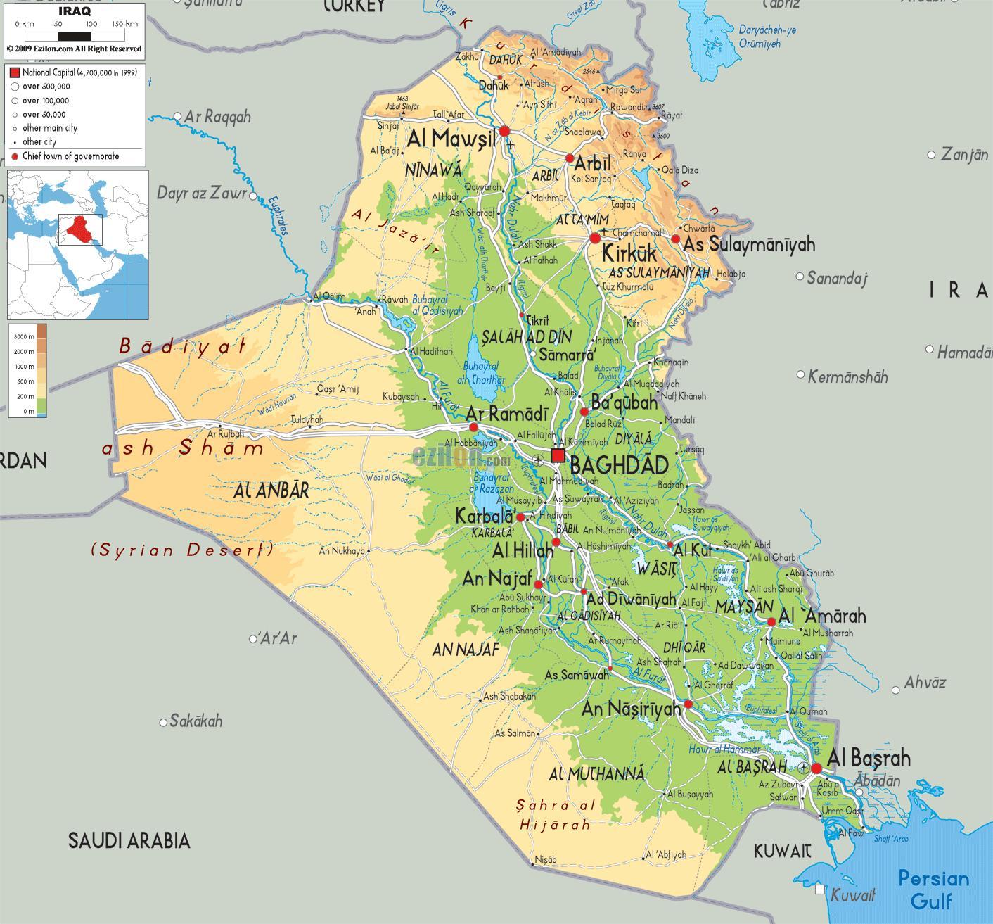 Geografija Irak Karta Geografije Irak Zapadna Azija Azija