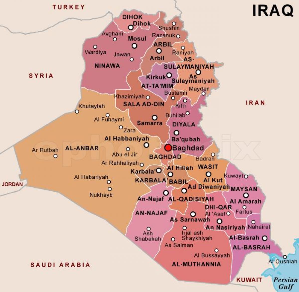 Drzava Irak Karta Drzave Iraka Zapadna Azija Azija